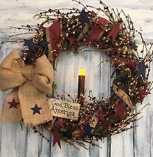 "18""Primitive Country Americana Grapevine Wreath W/homespun, Berries & Candle"