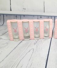 Playboy Bunny Tall Shot Glasses Pink Logo Set of 4 Hugh Hefner Collectible Gift