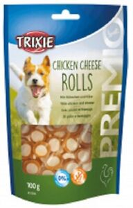 Trixie Premio Chicken & Cheese Rolls Gluten Free Dog Puppy Treats 100g x 1