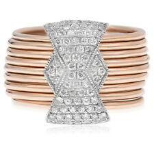 14K Rose Gold Pave Diamond Stacked Bands Wide Right Hand Cocktail Ring