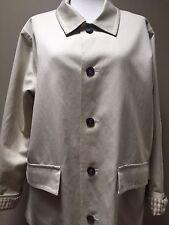 Eskandar Coats Beige Khaki Denim Canvas Barn Jacket size 0 EUC Gingham Cuffs