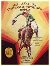 1936 Texas Centennial Dallas Fair Park Cotton Bowl  Rodeo Print Poster