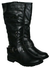 LADIES BLACK KNEE BOOT WITH SIDE ZIP AND TREAD SOLE IN SIZES 3-8