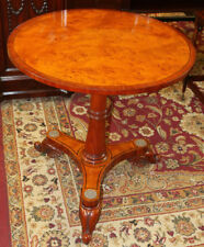 Great Burled Walnut Round Occasional Regency Side Lamp Table MINT