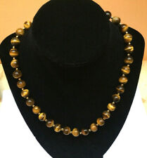 """14K Yellow Gold Tiger's Eye Beaded 18"""" Necklace - Gorgeous - NEW"""