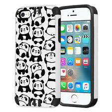 Hybrid Dual Layer Armor Case for iPhone SE / 5S / 5 - White Panda