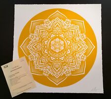 Shepard Fairey Yellow Mandala Signed Large Format Print Obey Giant Poster #/150