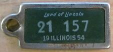 Illinois 1954 MINI License Plate KEYCHAIN TAG DISABLED AMERICAN VET # 21 157