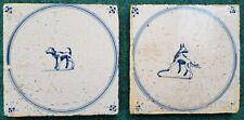 Two Antique Dutch Delft Blue White Dog Circle Tiles 17th C Spider Corners
