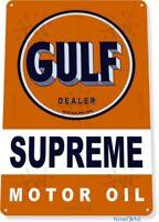 Gulf Motor Oil Logo Garage Gas Retro Vintage Rustic Wall Decor Metal Tin Sign