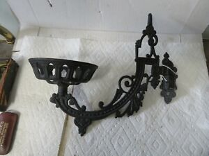 Victorian Oil Lamp Holder Wall Mount Cast Iron Swing Arm Iron Art Antiquie