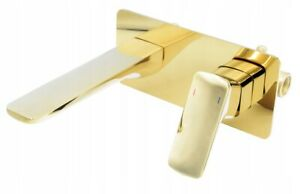 Gold Bathroom Brass Basin Mixer Taps Sink Faucet Wall Mounted Square (245)