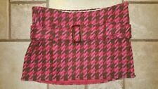 Abercrombie + Fitch Wool Houndstooth Choc/Strawberry Mini Skirt Sz O #3842