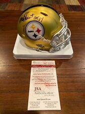 Mel Blount Autographed Pittsburgh Steelers Blaze Mini Helmet HOF 89 Witness JSA