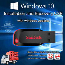 Windows 10 32 / 64 bit Home Pro Enterprise Upgrade Repair Install 16GB USB Drive