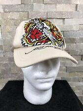 Ed Hardy Unisex Light Cream Tiger VINTAGE TATTOO Embellished Adjustable Hat Cap