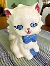 Vintage Ceramic Hand Painted & Glazed White Kitty Cat w/ Bow Figure