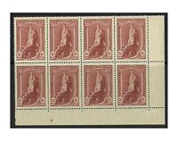 Australia 1948 5/- Robes Thin Paper Lower Right Perf Pip Block/8 Stamps MUH 16-1