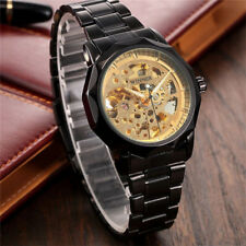 Men's Luxury Black Gold Skeleton Dial Stainless Steel Automatic Mechanical Watch