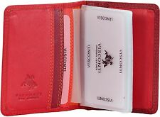 VISCONTI LUXURY SOFT LEATHER CREDIT CARD HOLDER IN RED MULTI RB-44 , FAB !!