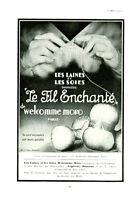Publicité ancienne le fil enchanté Welcomme  Moro 1950  issue de magazine