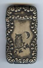 ANTIQUE EARLY 1900'S SILVER TONE OWL & MOON MATCH SAFE