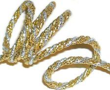 5MM GOLD/SILVER METALLIC TWISTED CORD ROPE, X2 METRES, ART 12.467/5, FREE P&P