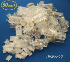 50-Pack Cat6 RJ45 Plugs with Inserts for Solid UTP Ethernet Cable, T6-208-50