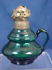 Antique Miniature Green Glass Oil Lamp Fingerhold