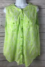 American Eagle Outfitters Juniors Lime Green White Sleeveless Blouse Size XL