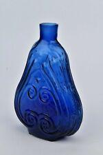 American Blown Cobalt Blue Glass Scroll Flask Pint Size GIX-10