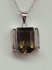 de diseño 6,2 Quilates Cuarzo Ahumado Colgante collar plata 925 Topacio Puro