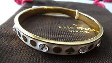 Kate Spade Spot The Spade White Crystal Bangle Bracelet Gold Tone BNWT