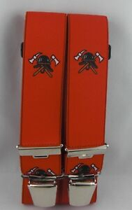 Herrenhosenträger 120/130 oder 140 cm  Feuerwehr - Motiv  mit 4 starken Clipsen