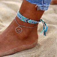 2pcs/set Boho Handmade Ethnic Braided Anklet Beach Sandal Ankle Silver Bracelet