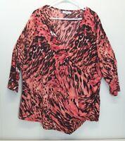 Jennifer Lopez 2X Shirt Top Blouse Pink Abstract Stretch Plus Size Faux Wrap