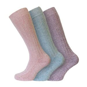 Ladies 3 Pairs Soft Acrylic LONG Warm Thermal Boot Socks UK 4-8 PASTELS