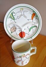 "Haviland Set of (2) Divided Plate & Cup ""The Dancing Vegetable Family"" Vintage"
