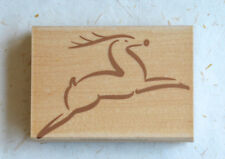 Hero Arts H1475 Leaping Reindeer - wood mounted rubber stamp - used