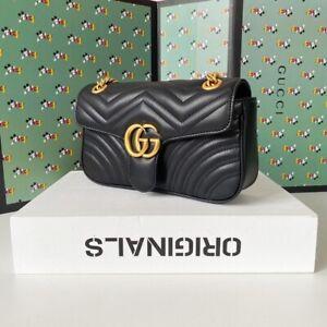 Gucci Shoulder Cross Marmont Calfskin Matelasse Small Bag Women Black Handbag