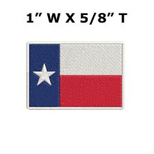 Texas State Flag Patch Embroidery Iron On Lone Star White Border-Small 1-5/8""