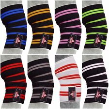 Gym Weight lifting Knee Wraps Bandage Straps Guard Powerlifting Pads Sleeve PAIR