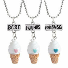 1 Set Halsketten Freundschaftsketten Eiscreme Weiß Orange, 3 Stück Schmuck Kette