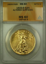 1923-D St Gaudens Double Eagle Gold $20 Coin ANACS MS-60 Details