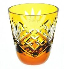 Faberge Na Zdorovye Yellow Gold Cut to Clear Crystal Vodka Shot Glass Signed