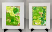 Set Of 2 Modern Abstract Acrylic Painting ORIGINAL Matted Green Copper Gold Art