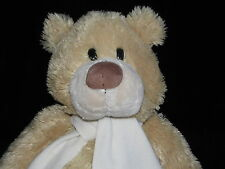MOTHERCARE TEDDY BEAR SOFT TOY CREAM COMFORTER WHITE SCARF DOUDOU