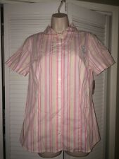 BOBBIE BROOKS Womans Size S - 6 Pink Stripe Cotton Blend Shirt Blouse w/Stretch