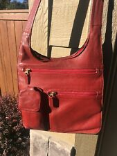 JP OURSE CIE Traveler Crossbody Bag Organizer Messenger Red Leather Handbag