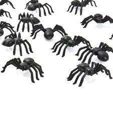 50pcs Halloween Small Black Plastic Fake Spider Joke Prank Props Funny Toys New